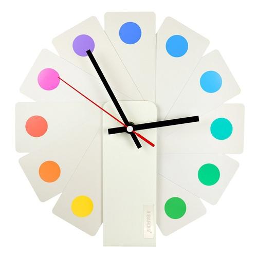 Kibardin |百變時鐘 白色扇葉/彩色斑點