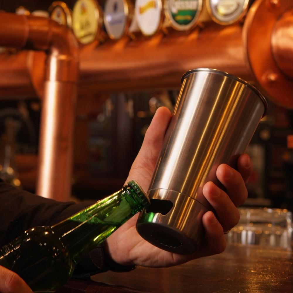 ASOBU|開瓶啤酒杯 不鏽鋼 - 香檳金