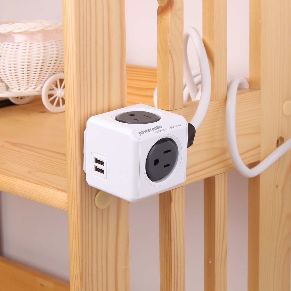 Allocacoc |PowerCube 雙USB延長線 - 灰色 (雙USB、4面插座、3孔、線長1.5公尺)