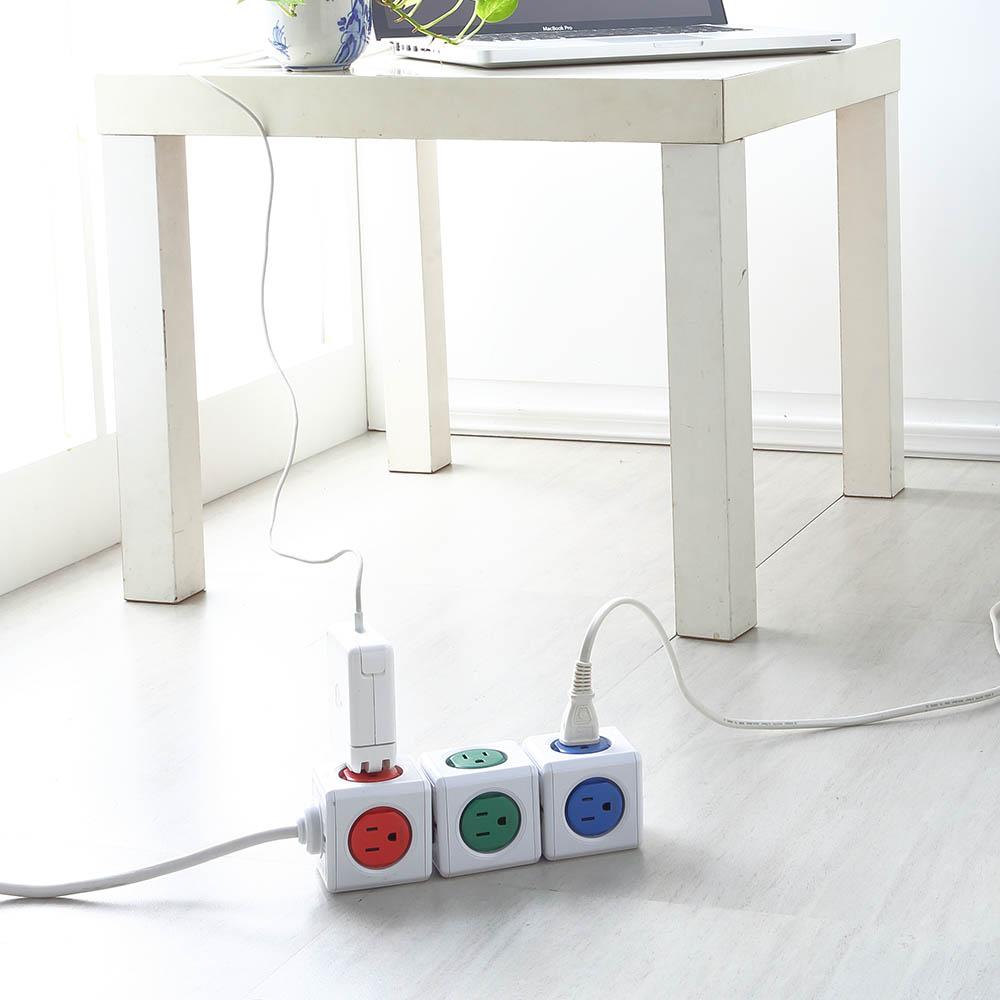 Allocacoc | PowerCube 紅色延長線1.5公尺 + 藍色USB擴充插座 - 紅藍組合包