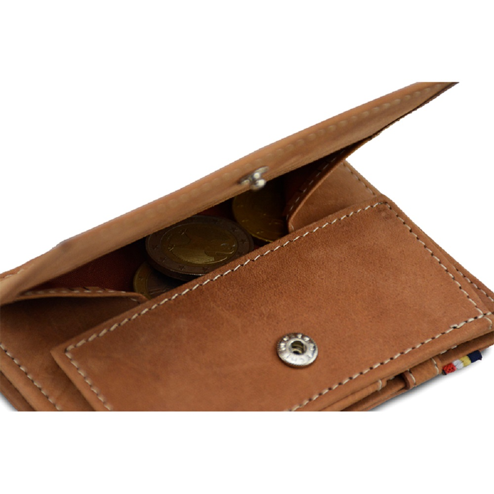 GARZINI|比利時翻轉皮夾 - 零錢袋款 - 淺棕色