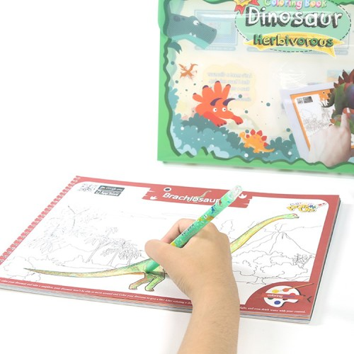VUIDEA|AR兒童英語教學繪本 + 無毒蠟筆組 - 草食恐龍系列