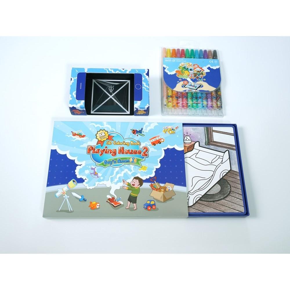 VUIDEA AR兒童英語教學繪本 + 無毒蠟筆組 - 男孩的房間