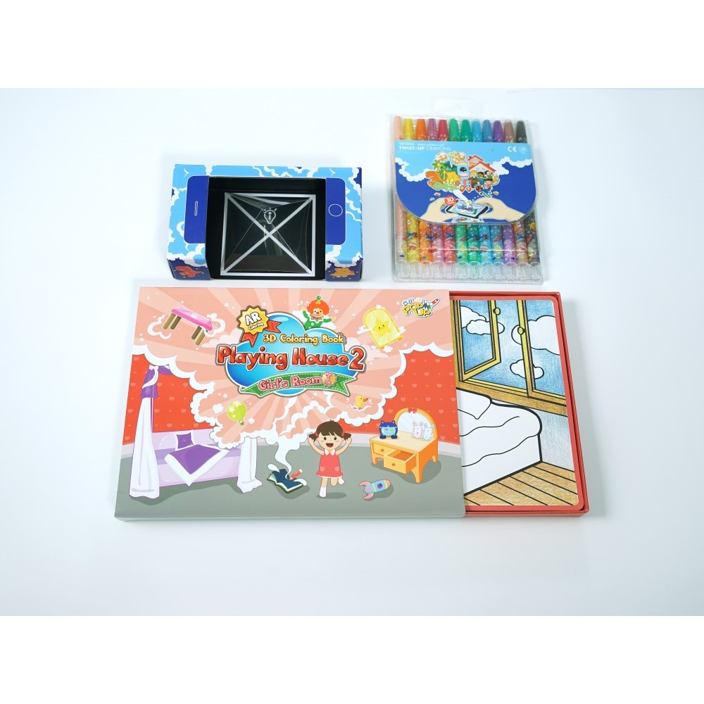 VUIDEA|AR兒童英語教學繪本 + 無毒蠟筆組 - 女孩的房間