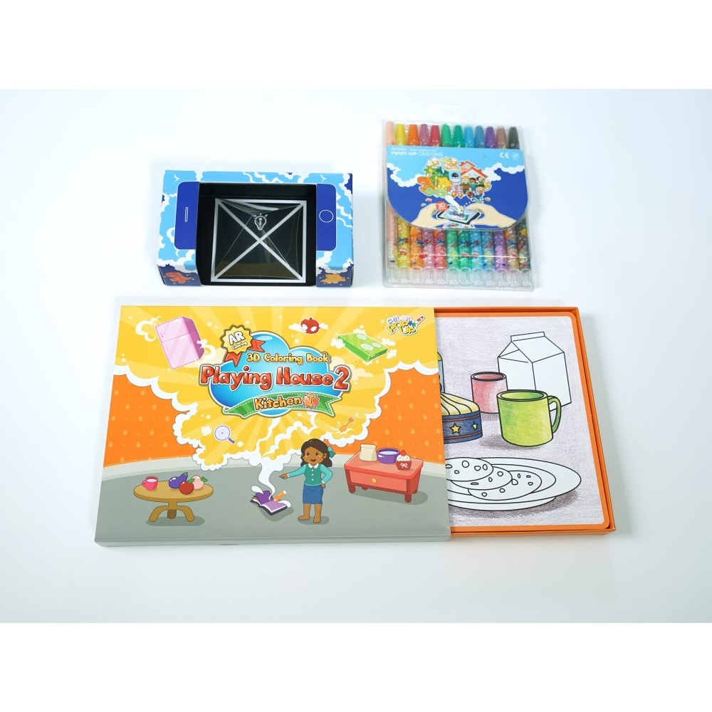 VUIDEA|AR兒童英語教學繪本 + 無毒蠟筆組 - 美味廚房
