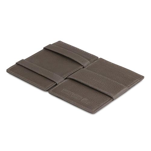 GARZINI 比利時翻轉皮夾 - 壓紋 - 極簡款 - 暗棕色
