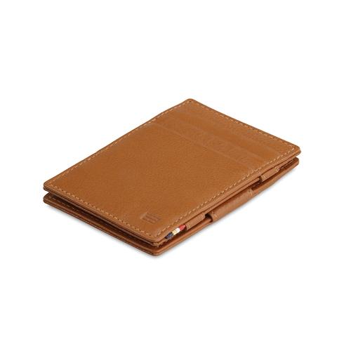 GARZINI|比利時翻轉皮夾 - 壓紋 - 極簡款 - 亮棕色