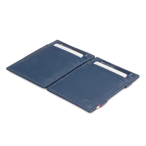 GARZINI|比利時翻轉皮夾 - 壓紋 - 極簡款 - 深藍色