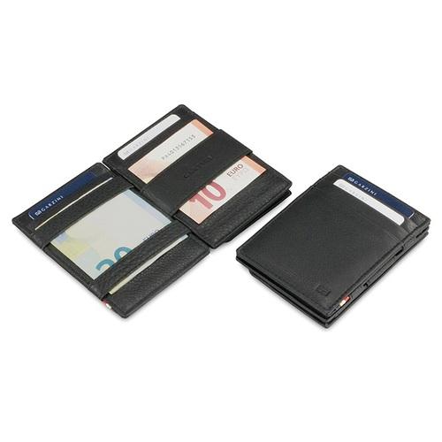 GARZINI 比利時翻轉皮夾 - 壓紋 - 零錢袋款 - 黑色