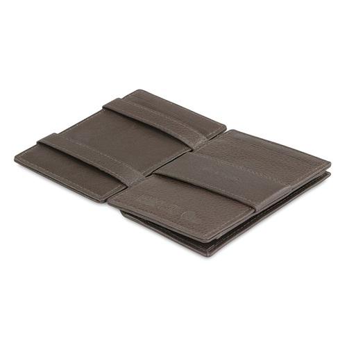 GARZINI|比利時翻轉皮夾 - 壓紋 - 零錢袋款 - 暗棕色