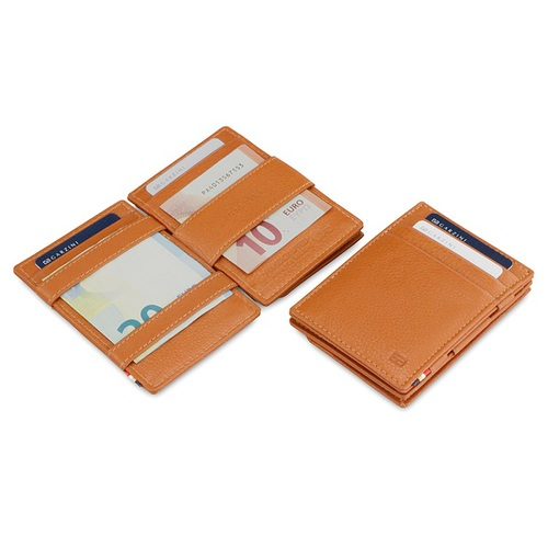 GARZINI|比利時翻轉皮夾 - 壓紋 - 零錢袋款 - 亮棕色