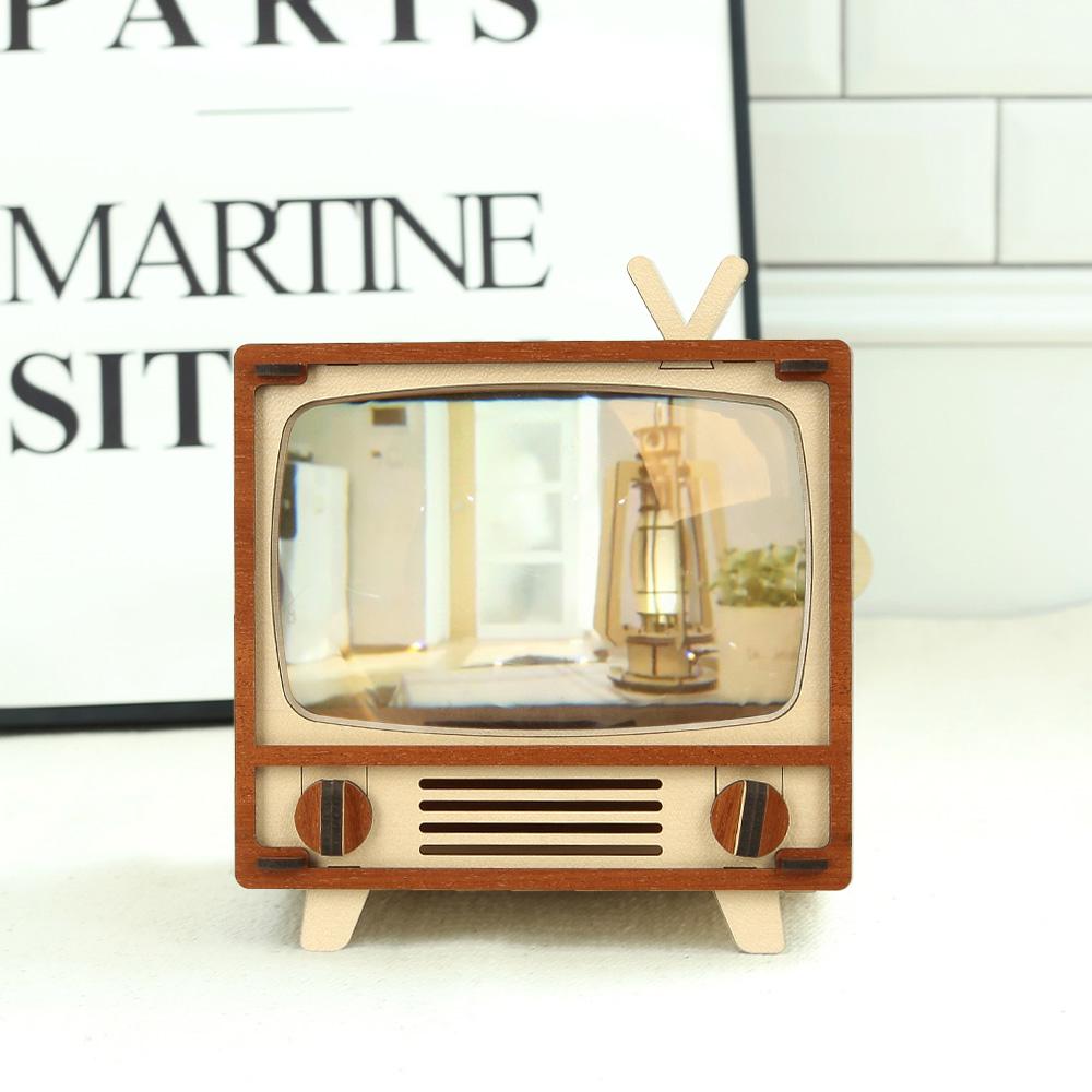 WOODSUM|輕手作。木製模型 - 懷舊電視機