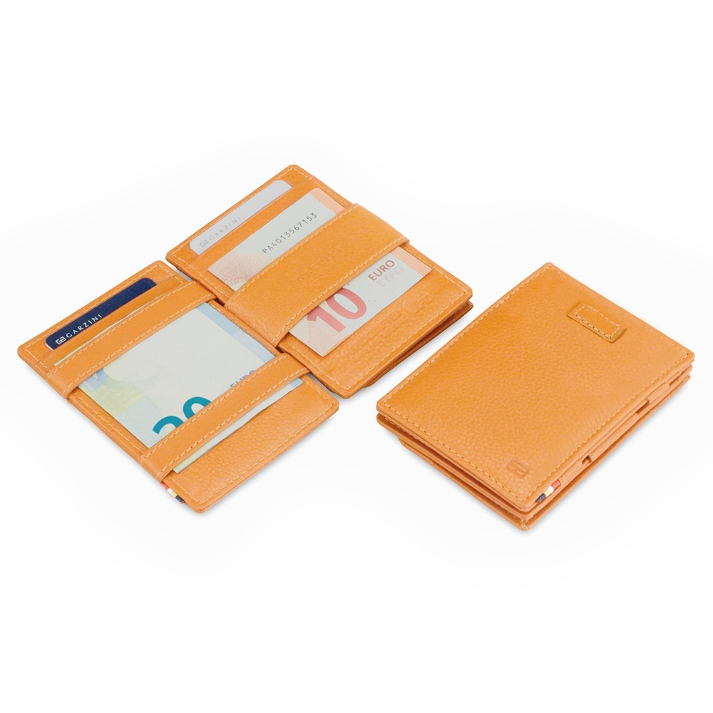 GARZINI|比利時翻轉皮夾 - 抽取零錢袋款 - 壓紋 - 亮棕色