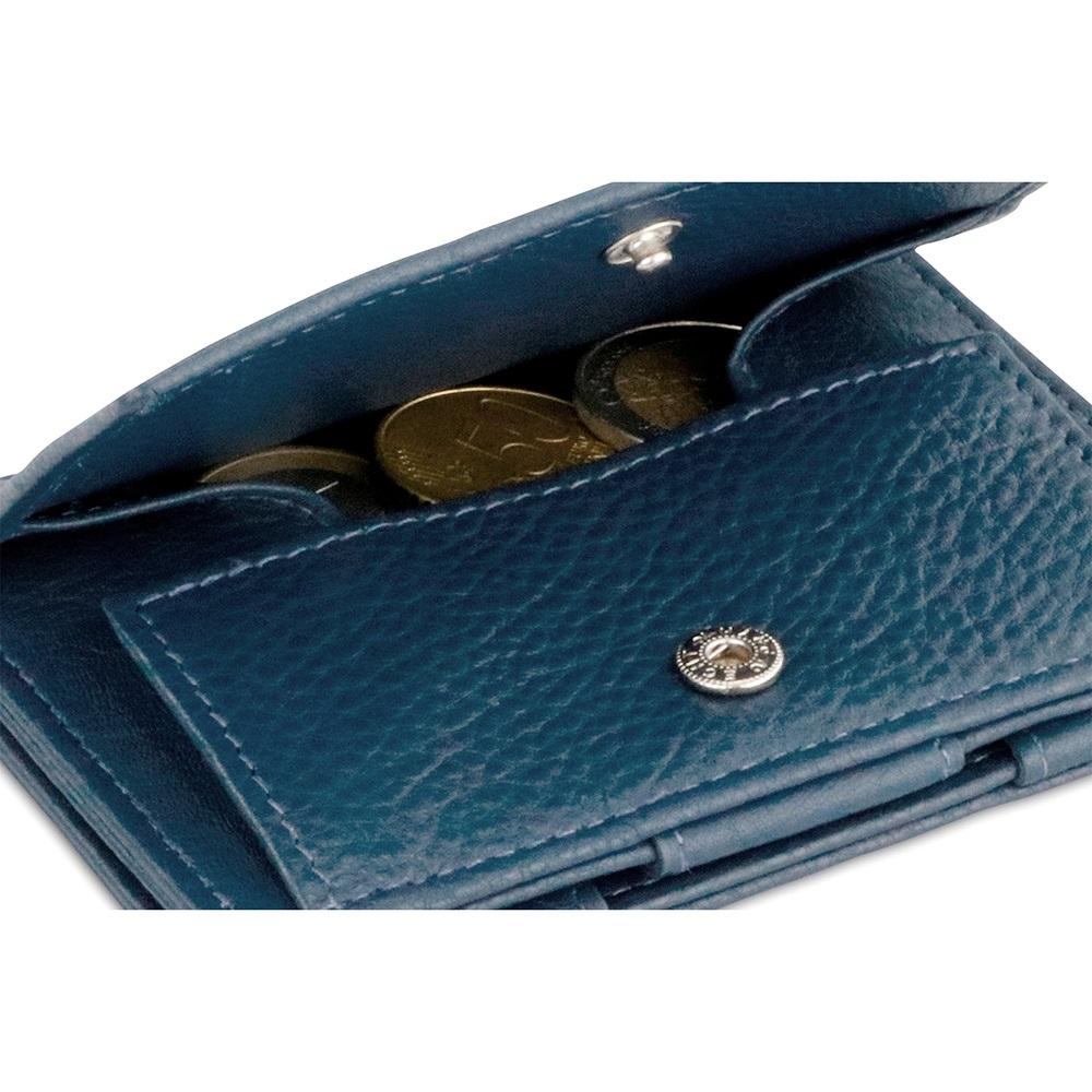 GARZINI|比利時翻轉皮夾 - 抽取零錢袋款 - 壓紋 - 深藍色