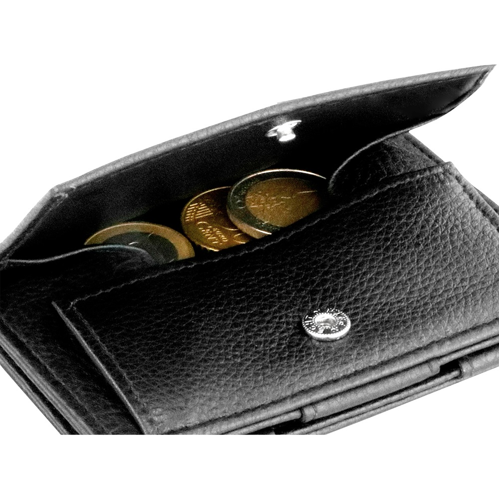 GARZINI|比利時翻轉皮夾 - 抽取零錢袋款 - 壓紋 - 黑色