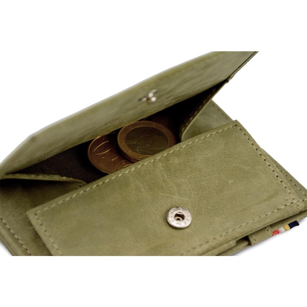 GARZINI 比利時翻轉皮夾 - 抽取零錢袋款 - 綠色