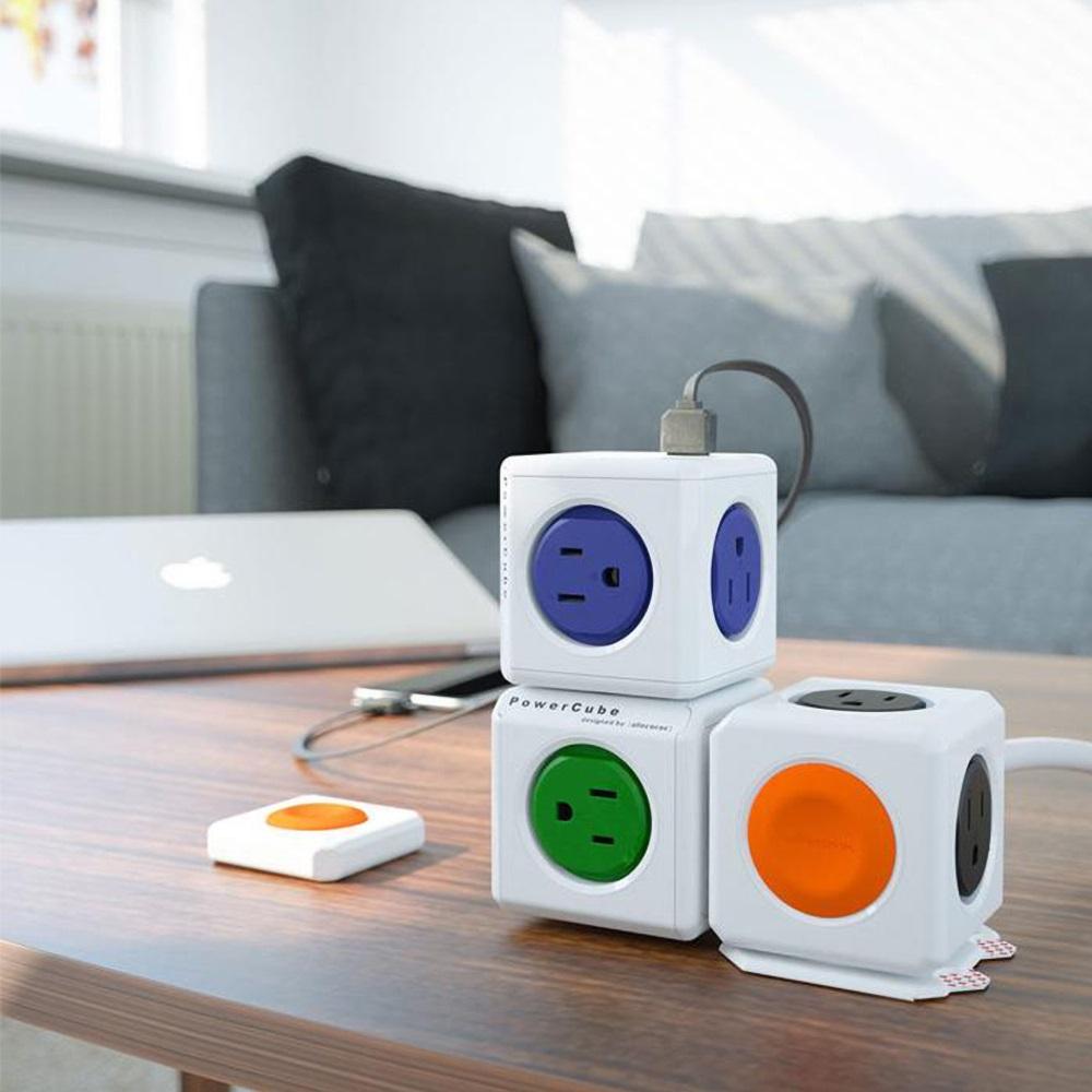 Allocacoc |PowerCube 防雷抗突波款 雙USB擴充插座/藍色(4面插座、3孔、2埠USB)