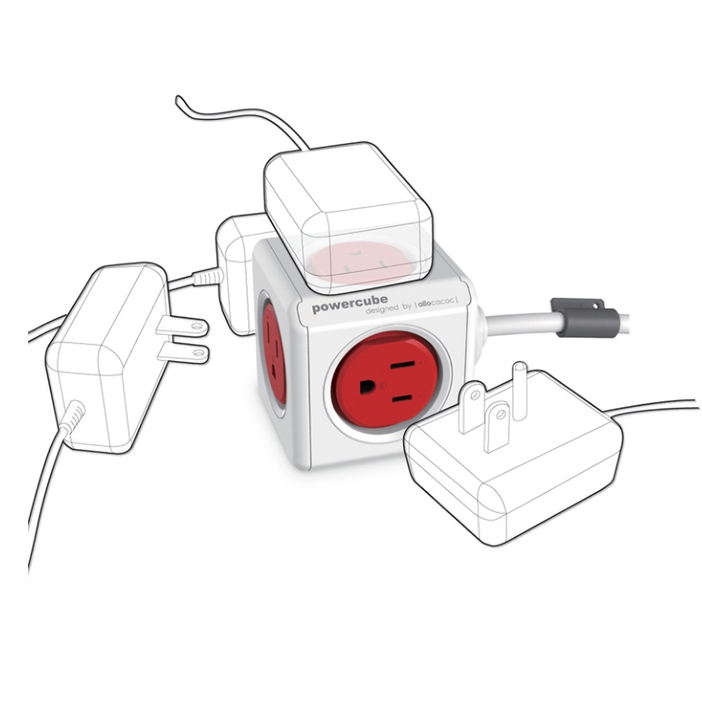 Allocacoc |PowerCube 防雷抗突波款 延長線/紅色(5面插座、3孔、線長1.5公尺)