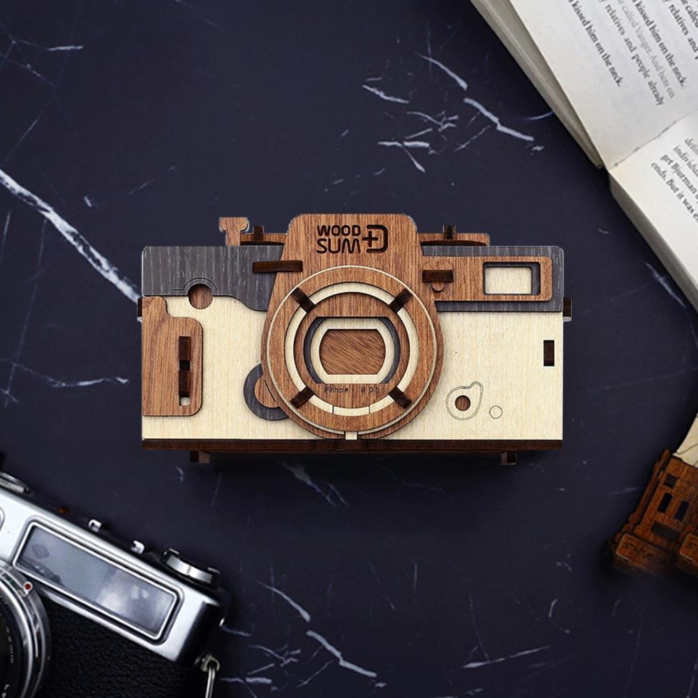 WOODSUM|輕手作。木製模型 - 35mm針孔相機 - 旗艦款 - 米白色
