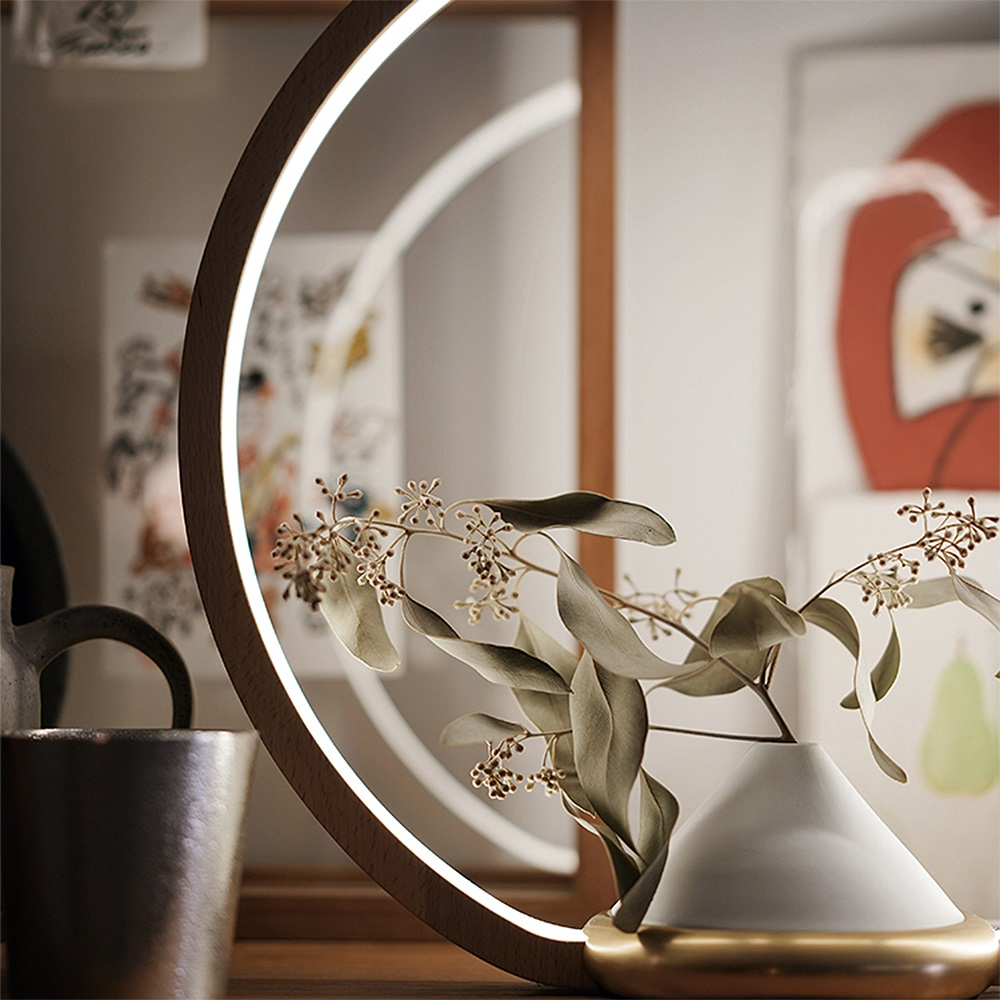 FOOKOO|一抹光景 LED檯燈/原木款 - 四葉瓶