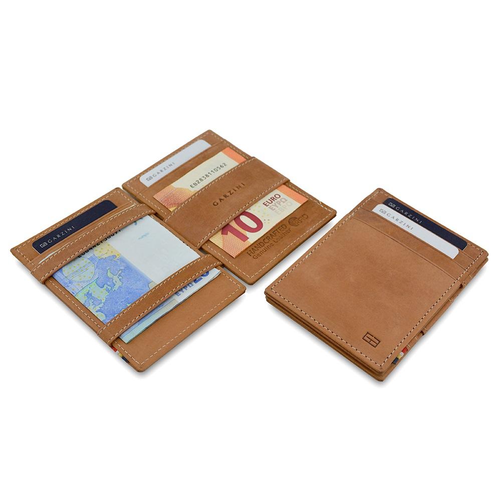 GARZINI|比利時翻轉皮夾 - 證件窗極簡款 - 淺棕色