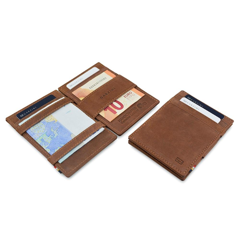 GARZINI|比利時翻轉皮夾 - 證件窗極簡款 - 深棕色