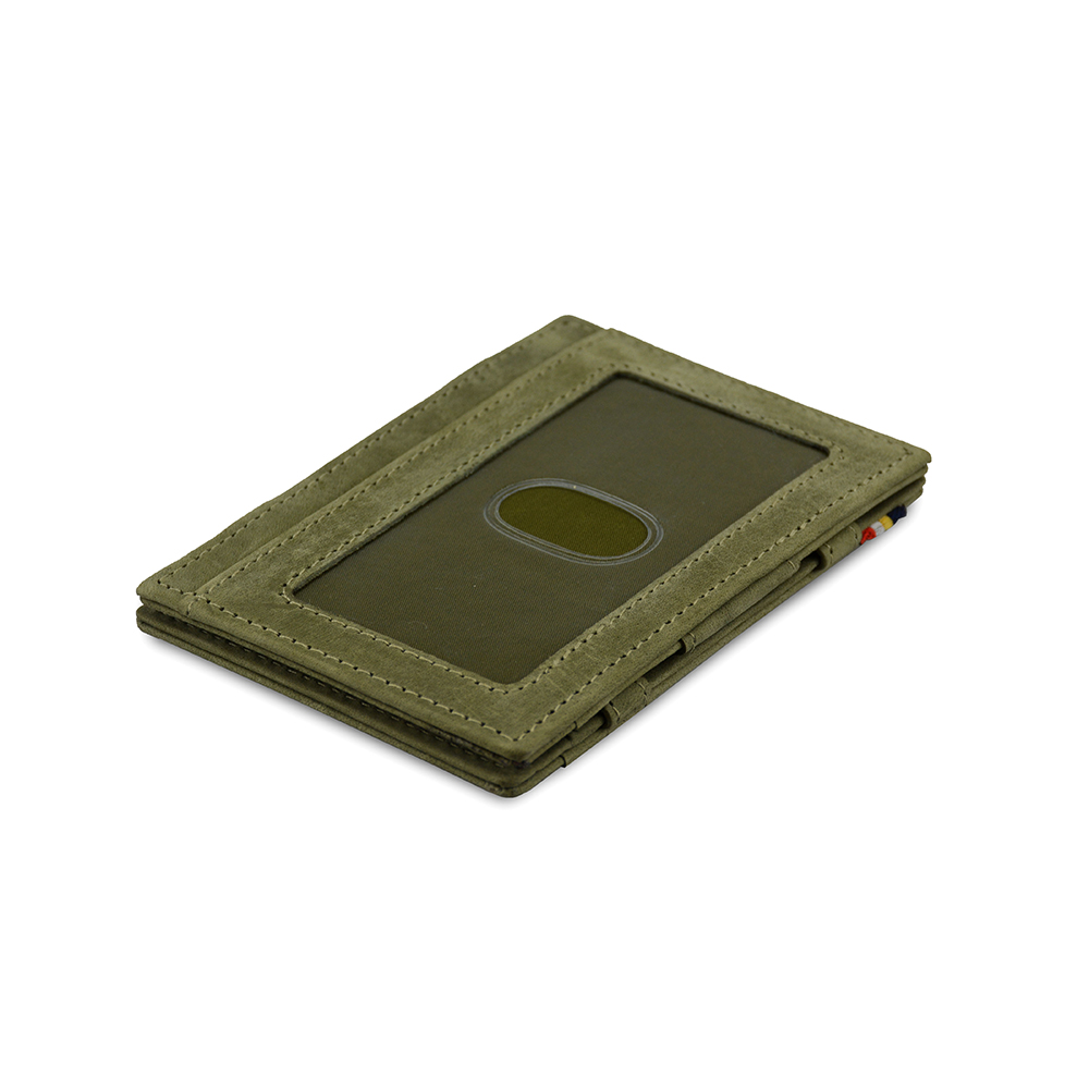 GARZINI|比利時翻轉皮夾 - 證件窗極簡款 - 綠色