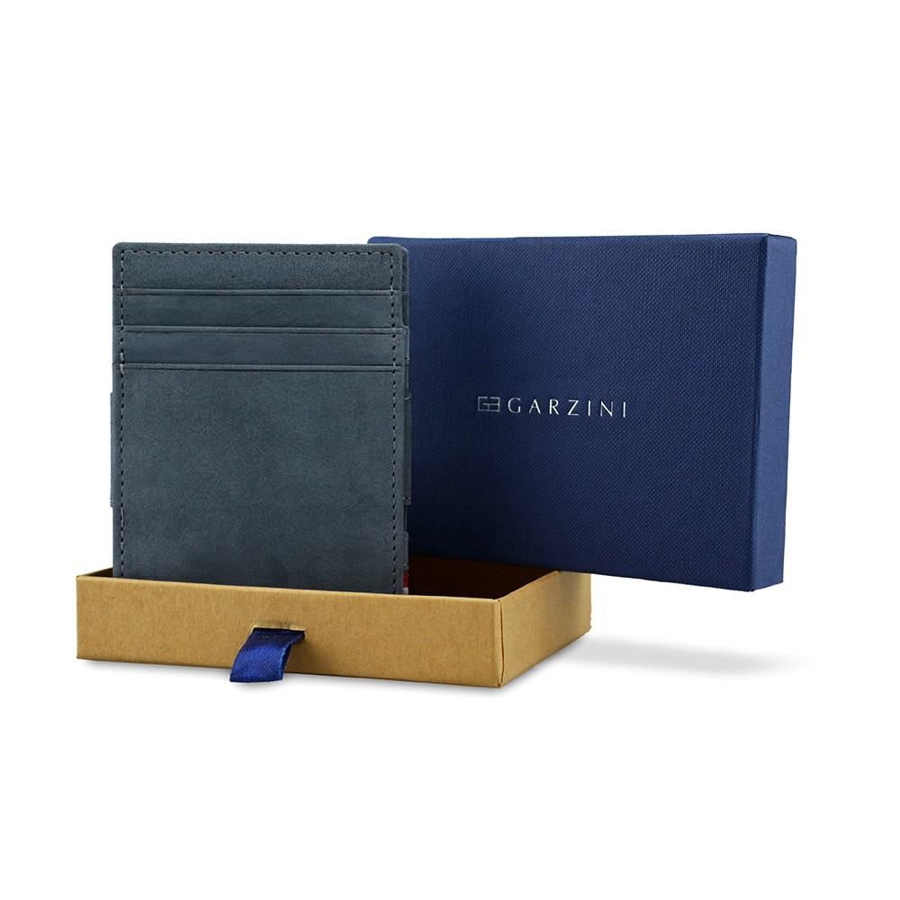 GARZINI|比利時翻轉皮夾 - 證件窗極簡款 - 藍色
