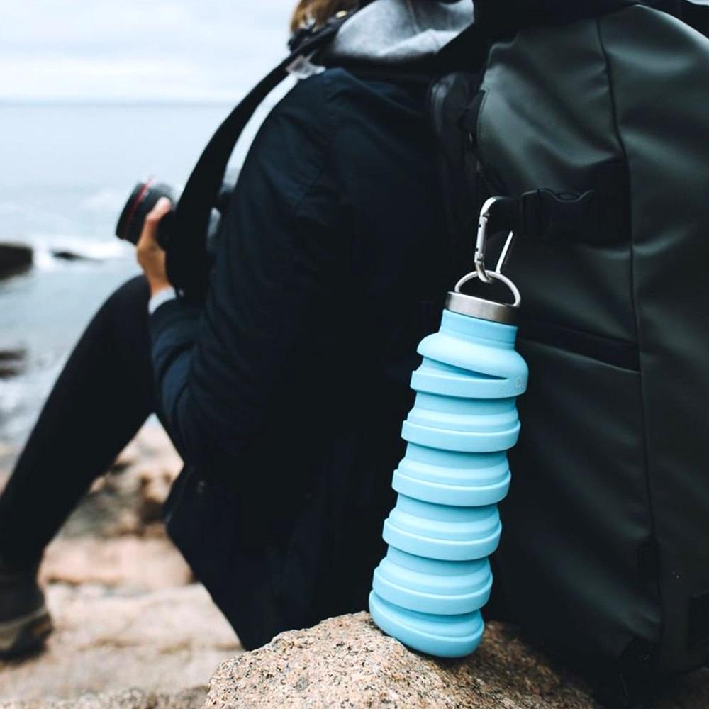 que Bottle|伸縮水瓶(600ml) - 附提把瓶蓋 - 湖水藍