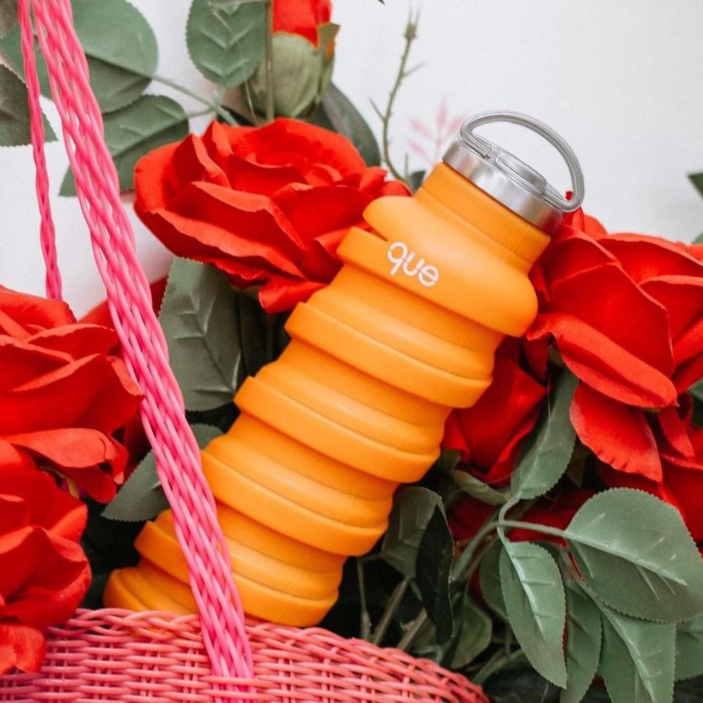 que Bottle|伸縮水瓶(600ml) - 附提把瓶蓋 - 活力橘