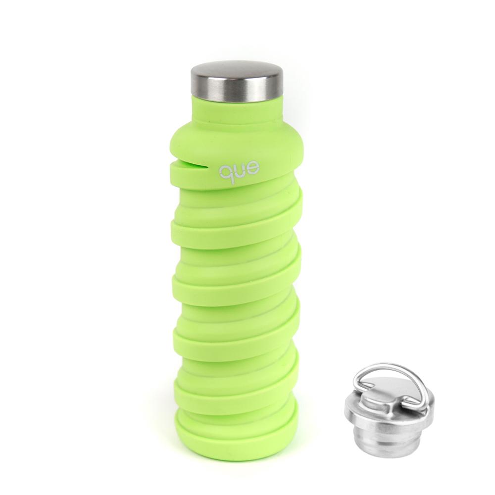 que Bottle|伸縮水瓶(600ml) - 附提把瓶蓋 - 螢光綠