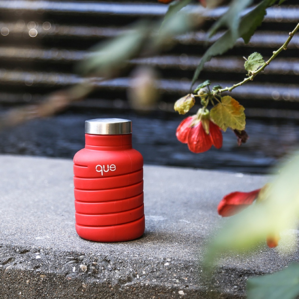 que Bottle|伸縮水瓶(600ml) - 附提把瓶蓋 - 魔力紅
