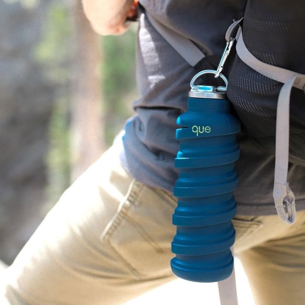que Bottle|伸縮水瓶(600ml) - 附提把瓶蓋 - 藏青藍