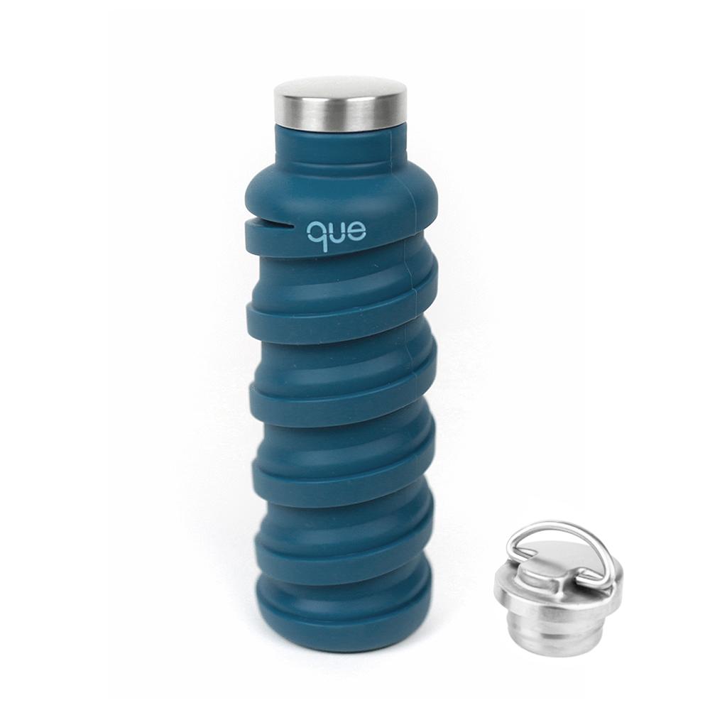 que Bottle|伸縮水瓶(600ml) - 附提把瓶蓋 - 寶石藍