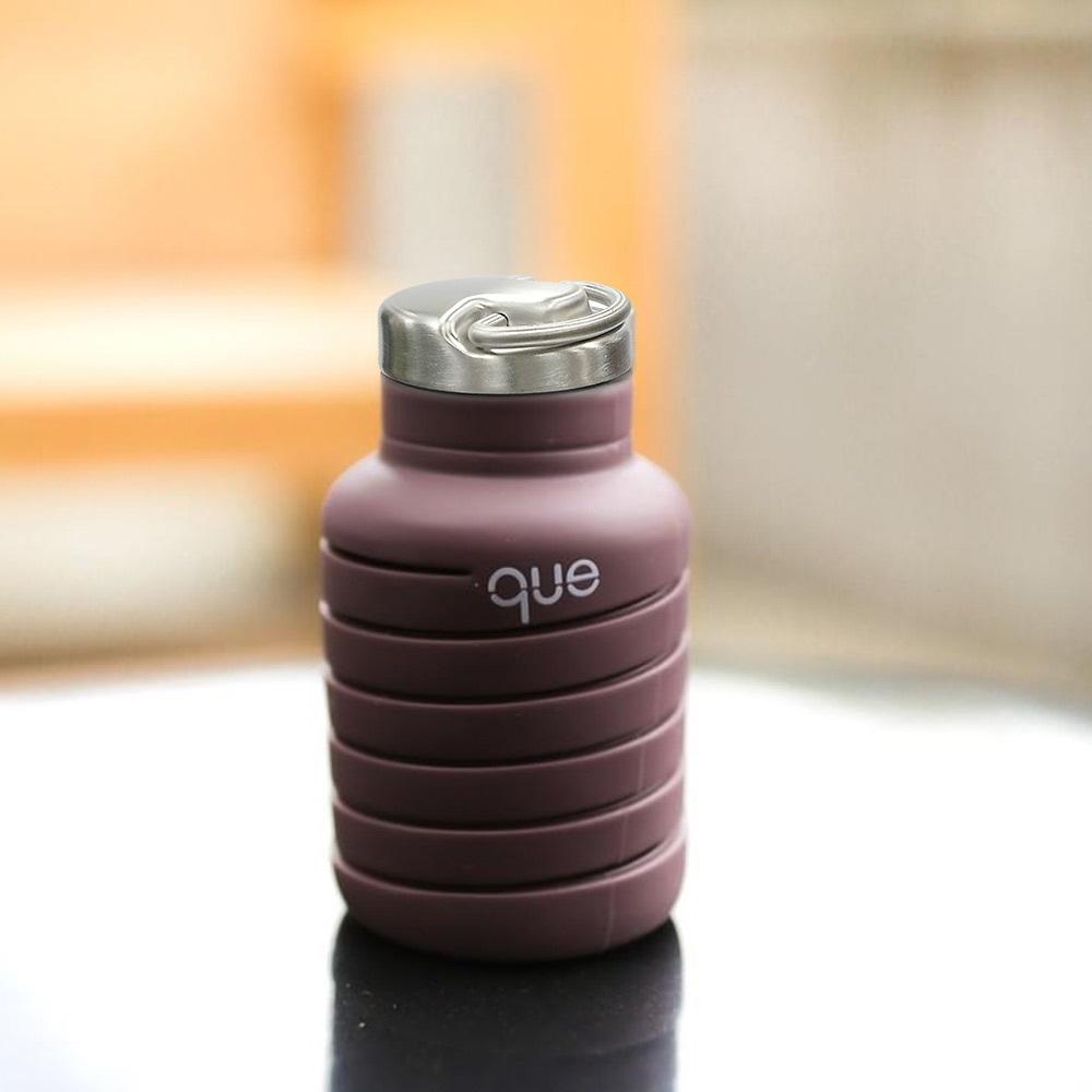 que Bottle|伸縮水瓶(600ml) - 附提把瓶蓋 - 咖啡棕
