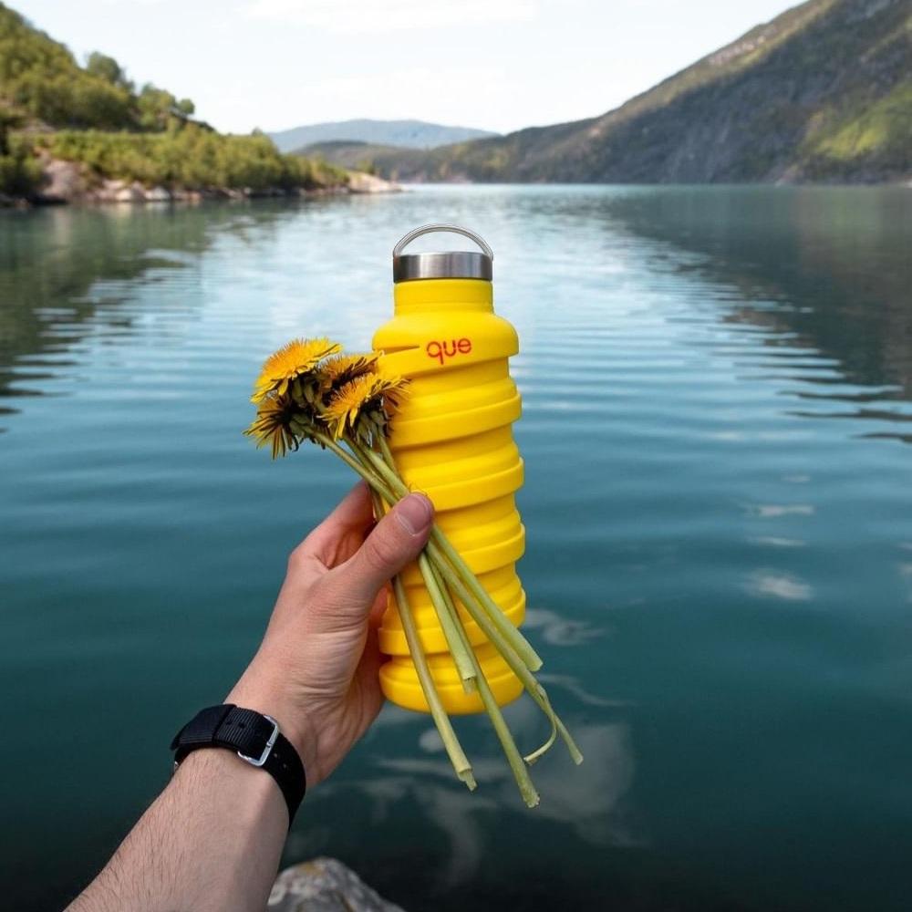 que Bottle|伸縮水瓶(600ml) - 附提把瓶蓋 - 豔陽黃