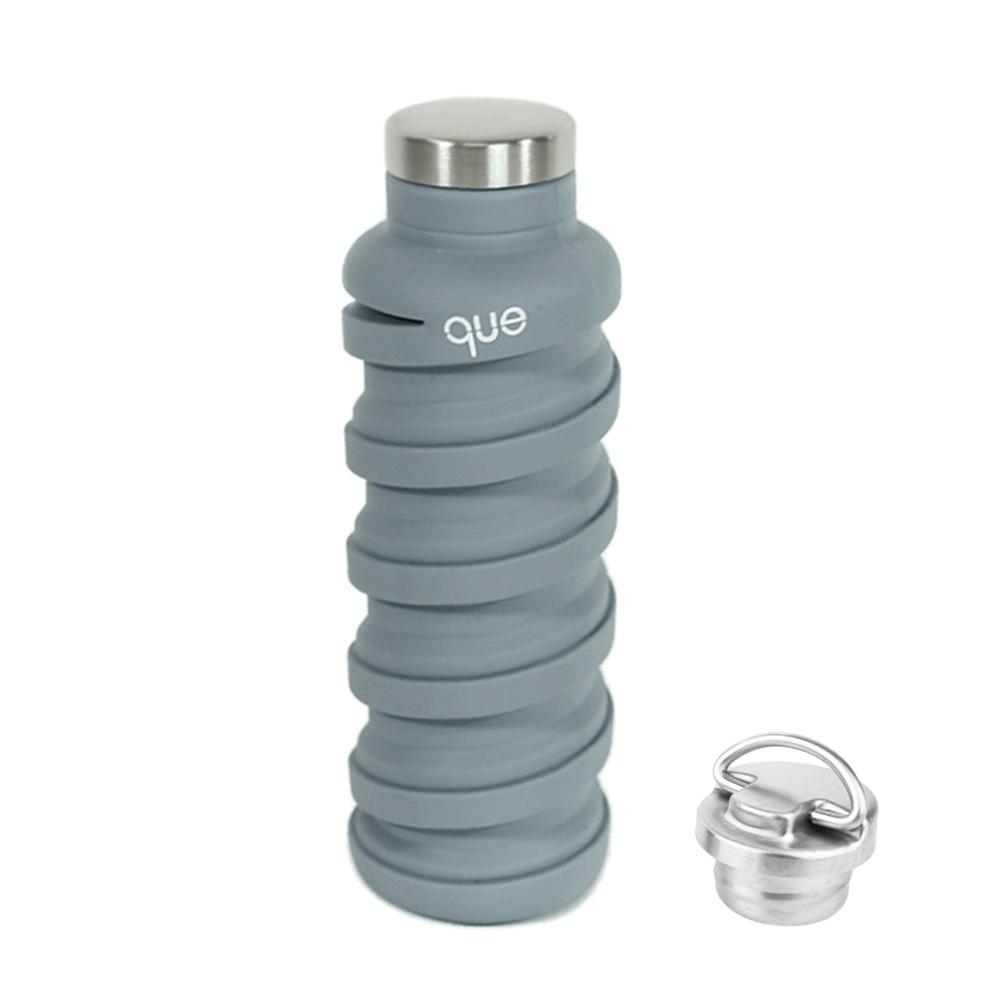 que Bottle|伸縮水瓶(600ml) - 附提把瓶蓋 - 水泥灰