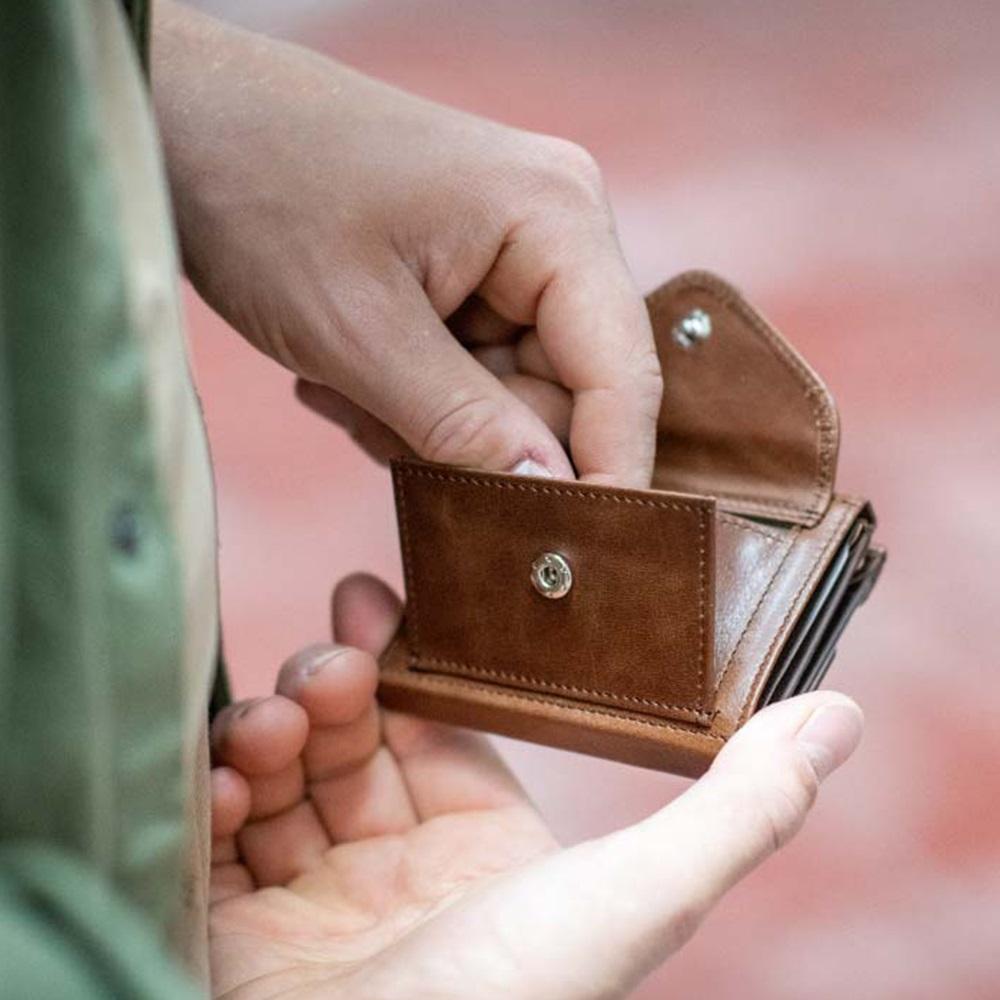 EXENTRI|挪威紳士皮夾 - 零錢袋款 - 榛果色