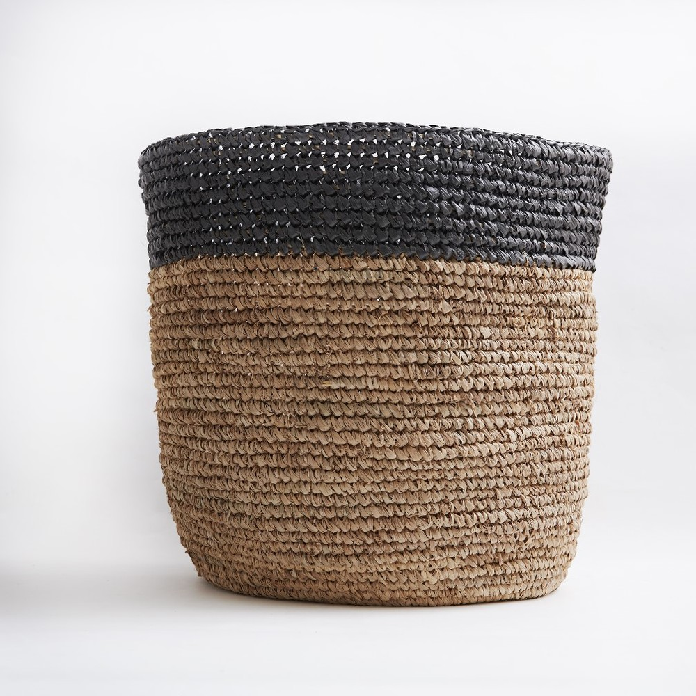 Bloomingville|咖啡黑色編織置物籃(大)