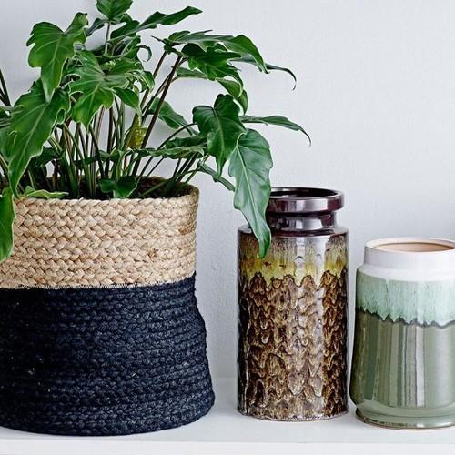 Bloomingville|咖啡黑色編織置物籃(中)