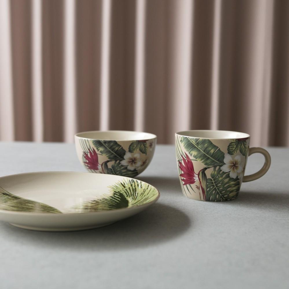 Bloomingville|熱帶艷花瓷碗圓盤馬克杯三件組