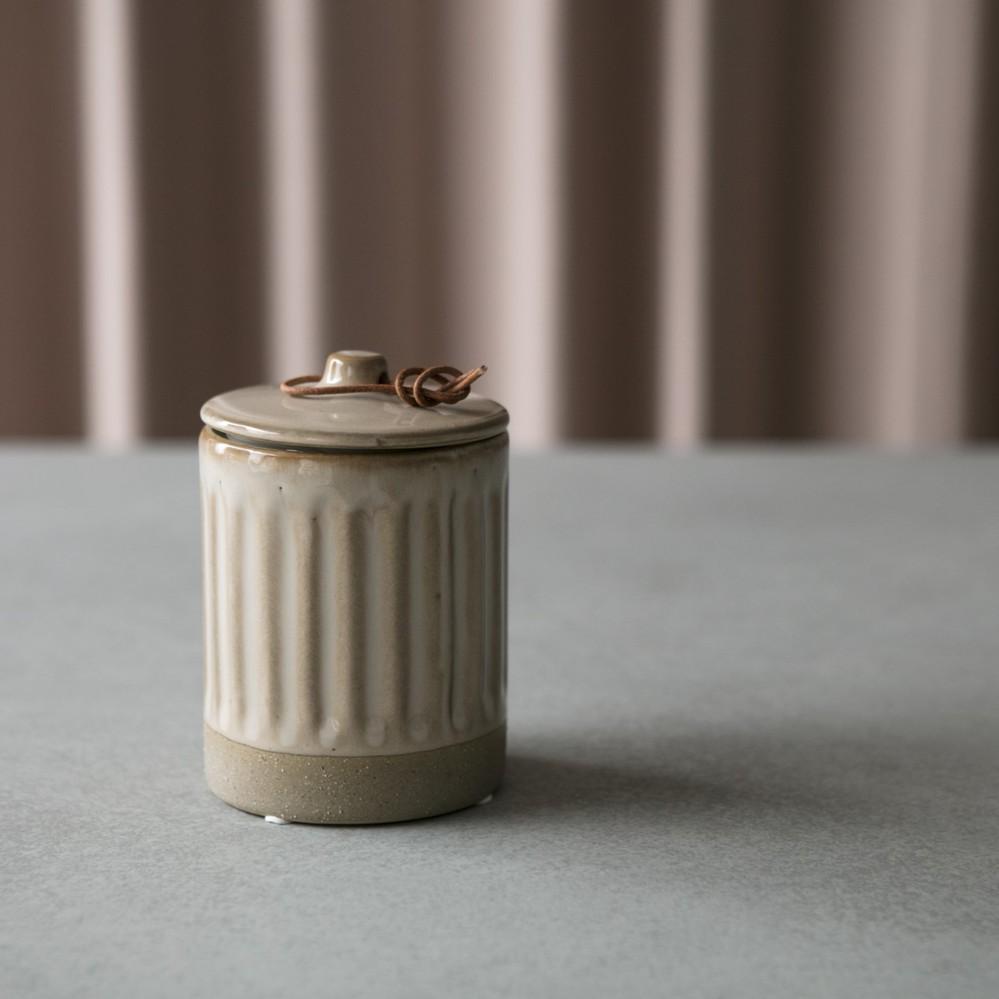 Bloomingville|淺褐色附蓋茶罐