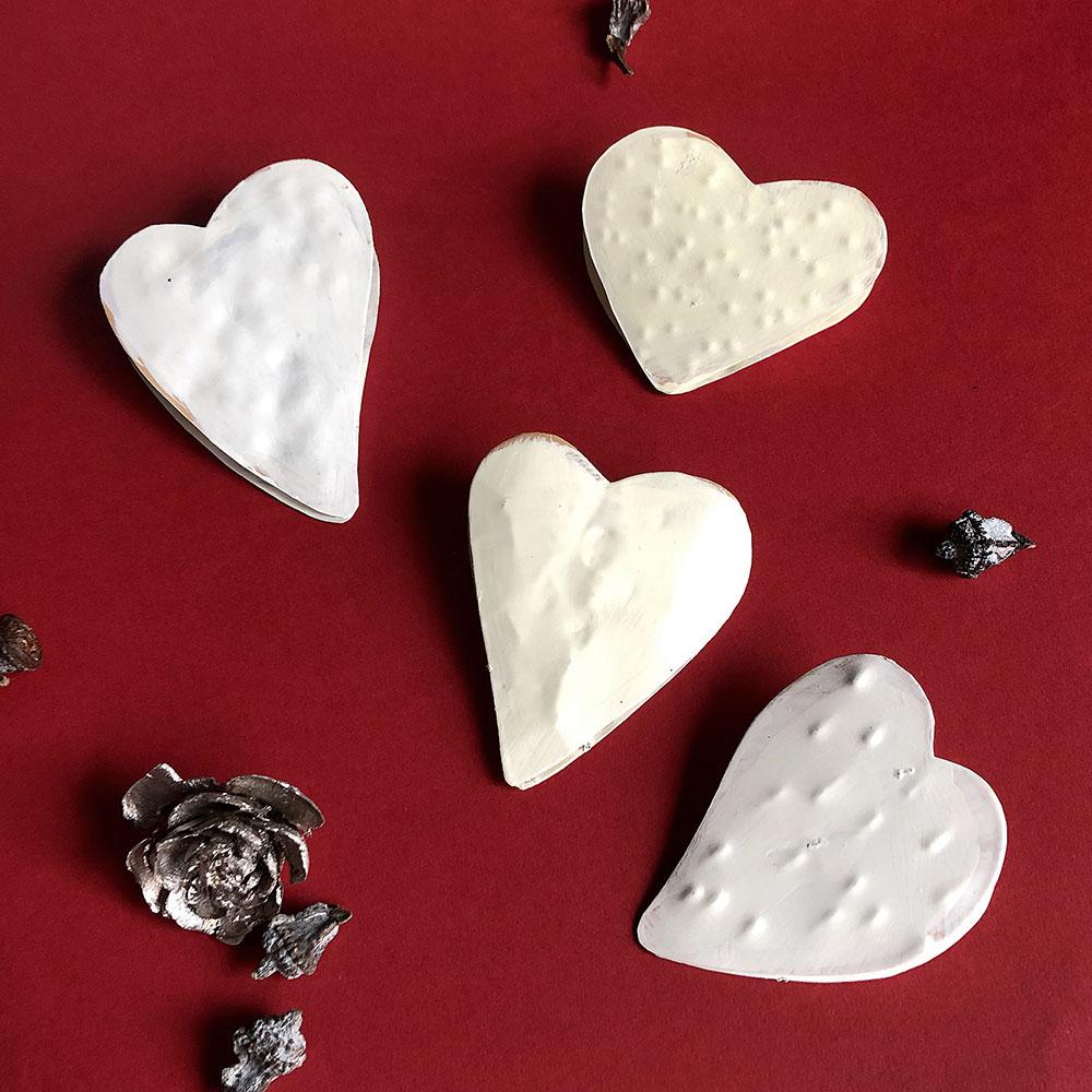 Baden|心型金屬手做Memo夾-白色(一對)