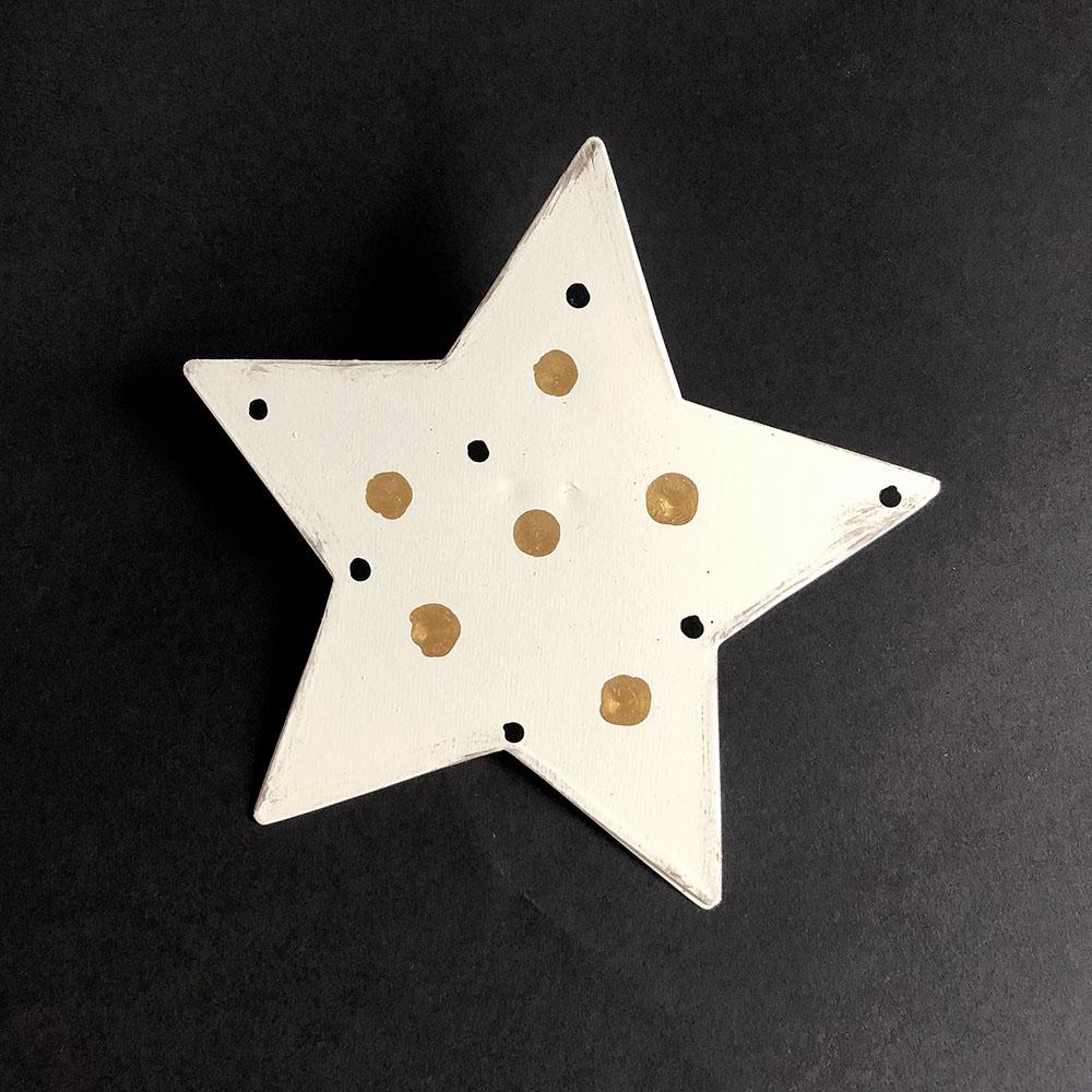 Baden|星光點點金屬手做Memo夾-白底金色星光