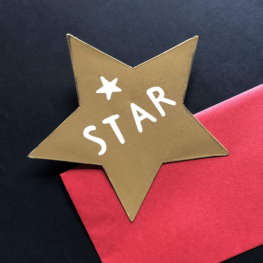 Baden 星光點點金屬手做Memo夾-金底STAR字樣