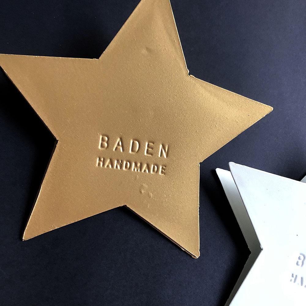 Baden|星光點點金屬手做Memo夾-金底STAR字樣
