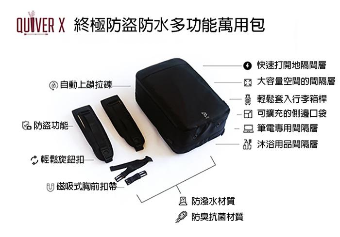 BOW | Quiver X 終極防盜防水多功能萬用包 (經典黑/黑)