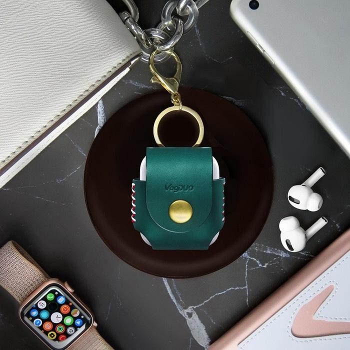 (複製)VogDUO|Airpods 義大利真皮革手工保護套(典雅紅)(附贈金屬扣環鑰匙圈)