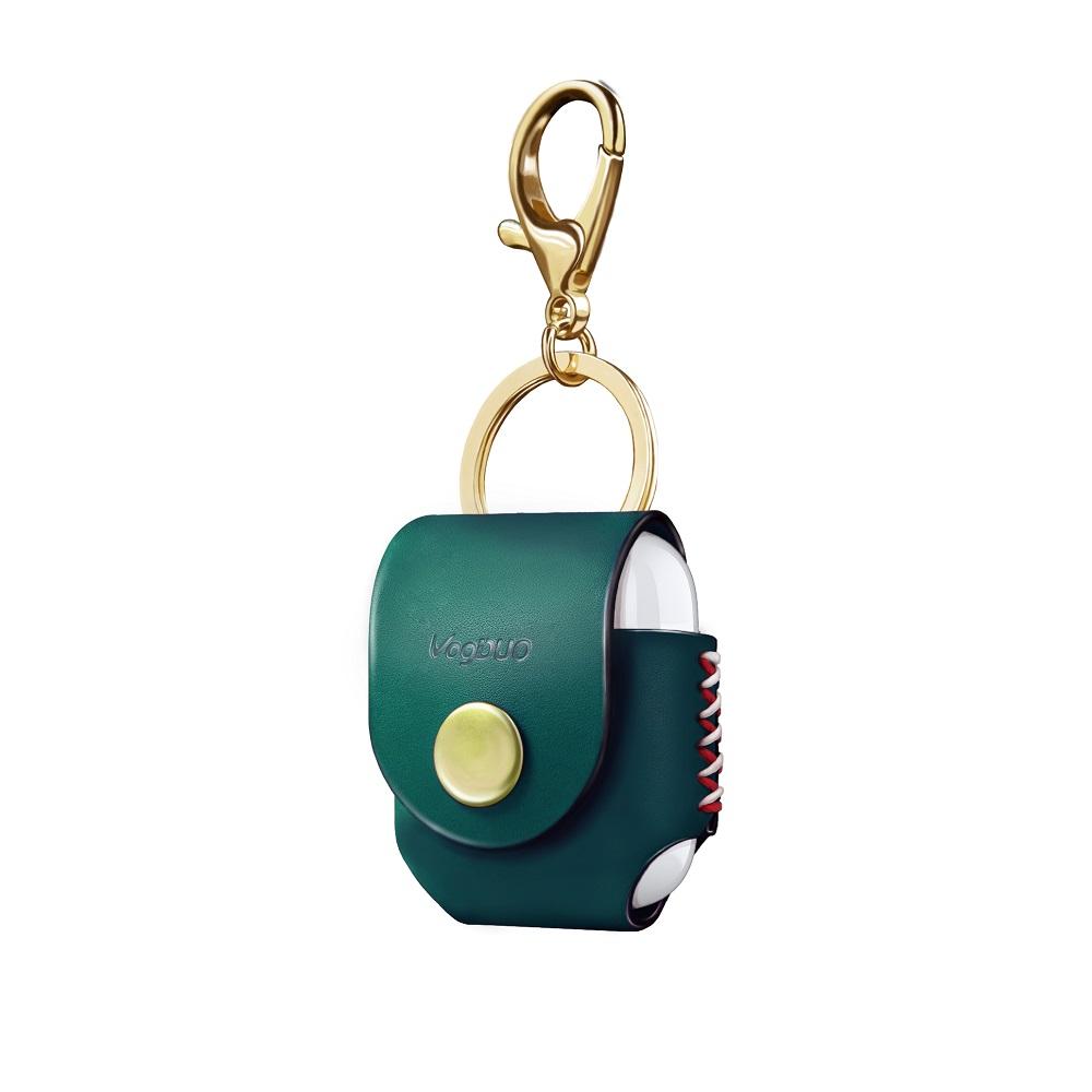 VogDUO|Airpods 義大利真皮革手工保護套(祖母綠)(附贈金屬扣環鑰匙圈)