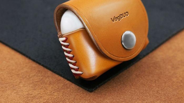 (複製)VogDUO|Airpods 義大利真皮革手工保護套(牛皮棕)(附贈登山級S型掛勾)